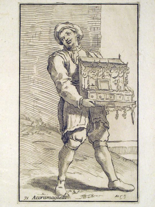 Figure 1 Acoramaglietti (= seller of knick-knacks) by Annibale Caracci, part of a series of drawings depicting around eighty crafts and street vendors from his hometown, Bologna. Multiple pairs of eyeglasses can be seen dangling among the other objects. Vascellari Collection STM33, Venice