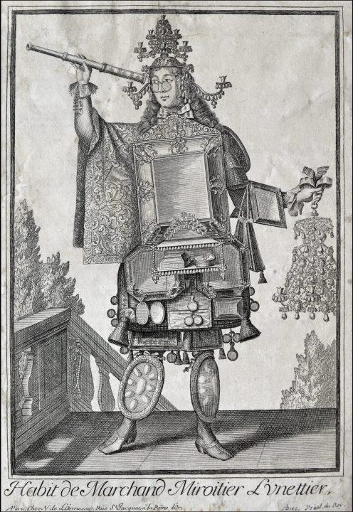 Photo 2 vendeur de lunettes de Nicolas de Larmessin II, vers 1700 ; l'un des costumes grotesques de la célèbre famille française de graveurs et d'éditeurs ; Collection Vascellari STM72, Venise