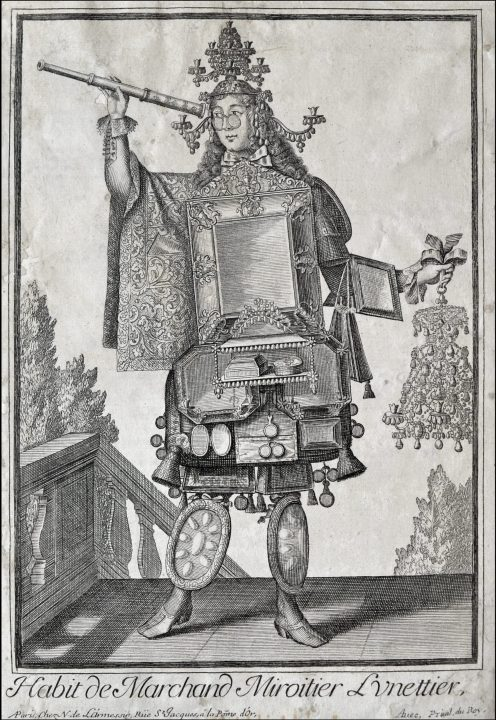 Figure 2 Spectacle seller by Nicolas de Larmessin II, about 1700; one of the grotesque costumes from the famous French family of engravers and editors. Vascellari Collection STM72, Venice