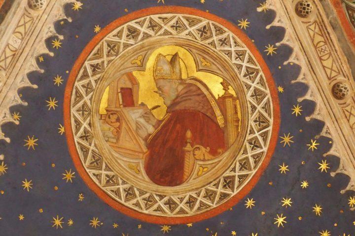 Photo 5 évêque de la seconde moitié du 15e siècle dans la chapelle appelée San Felice (pour les reliques du Pape Félix II) ou San Giacomo (pour les récits de sa vie représentés sur les fresques). Parmi ceux qui ont travaillé dans la chapelle, il y a aussi le verrier Tommasino da Venezia ; Église de Sant'Antonio, Padoue; photo de Fiona Giusto