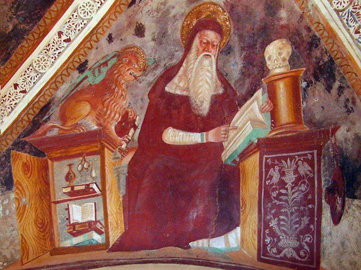 Photo 8 Marco est représenté avec le lion au-dessus de l'armoire et les lunettes accrochées à l'intérieur du meuble, Église de la Mattarella, Municipalité de Cappella Maggiore (TV) ; photo de Franco Bianchi