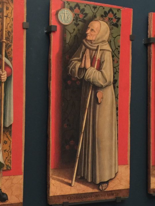Figure 9 Carlo Crivelli and studio: polyptych board with Saint Emygdius, approximately 1485. detail, Gallerie dell'Accademia, Venice