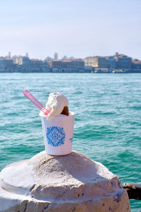 A Gianuiotto to go on the background of the Giudecca Canal