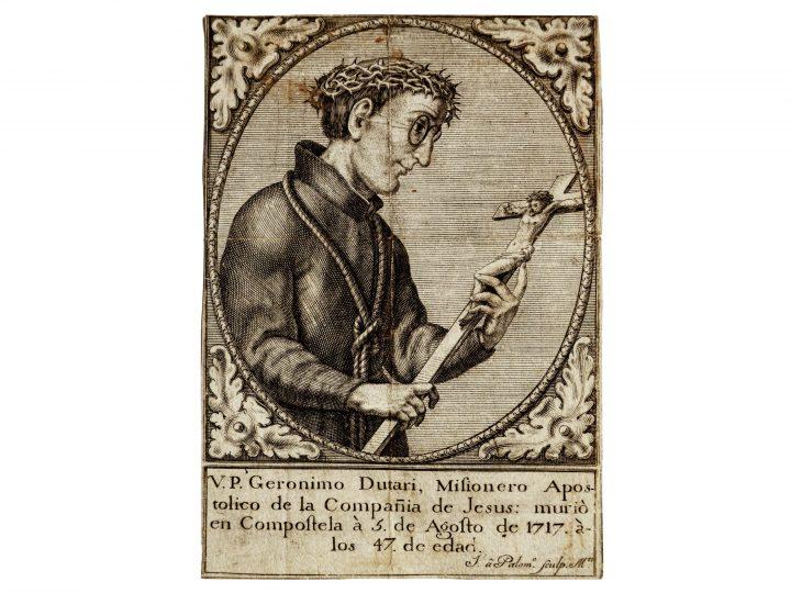 Photo 4 Geronimo Dutari, père missionnaire jésuite du 18e siècle avec sa ficelle à l'oreille, gravure ; Collection Vascellari STM62, Venise