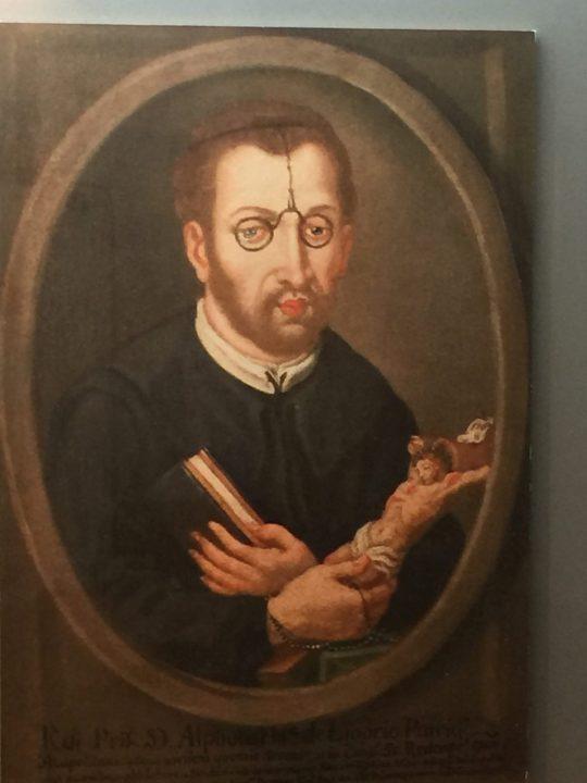 Figure 5 Alfonso de Ligorio wearing wig spectacles, 18th century. Eyewear Museum, Pieve di Cadore